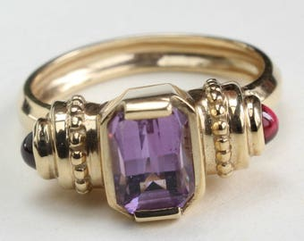Amethyst Garnet 14k Gold Ring January February Birthstone Gift for Her Size 6