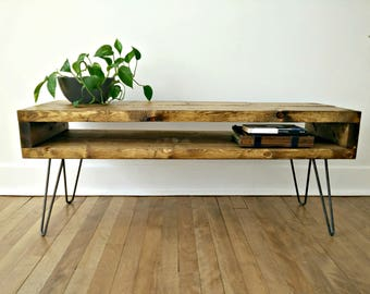 NEW! Reclaimed Coffee Table, Side Console, Mid Century Table, TV Console on Hairpin Legs