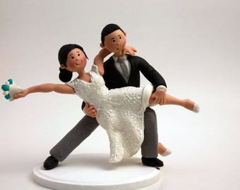 A Romantic Dip Dancing Bride And Groom Couple Figurine, Swing Dancing Cake Topper - Dance Cake Topper, Wedding Cake Topper, Bride and Groom