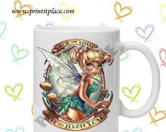disney inspired tattooed princess Peter Pan Tinker Bell christmas mug, gift idea present