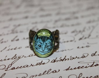 """""""Cheshire"""" green""""fancy oval Adjustable ring bronze cabochon glass"""