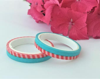 Blue & Pink Stripe Washi