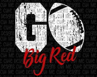 SVG DXF PNG cut file cricut silhouette cameo scrap booking Go Big Red Football Distressed