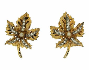 Bellini 1960s Rhinestone and Faux Pearl Vintage Maple Leaf Earrings