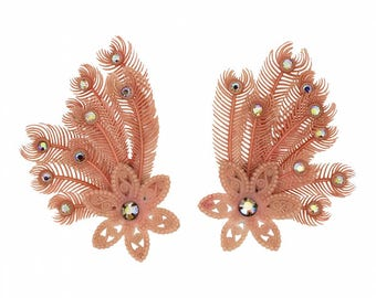 1950s Pink Plastic Vintage Feather and Flower Earrings