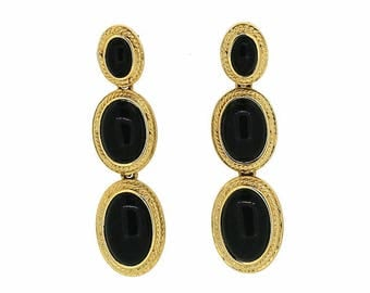 Monet 1980s Black Cabochon Vintage Drop Earrings