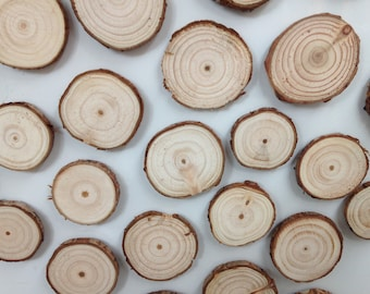 Handmade Slice of Natural Wood Log Wooden Fridge Magnets - Pack of 5 Assorted Magnets