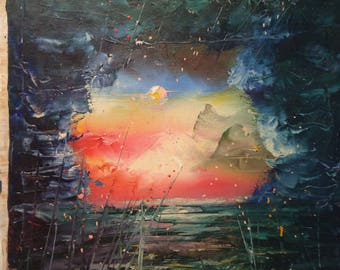 Dark Sea Oil Painting by Naci Caba
