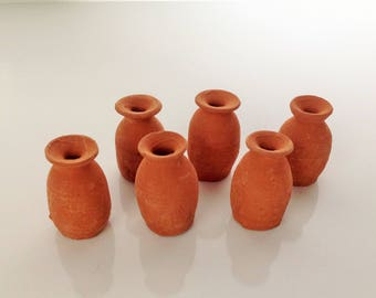"25 Pcs Miniature Terracotta Mexican Jarro Mini Mexican 1.5"" Pottery Cantaritos de Barro Party Favors Mexican Party Jarroncitos de Terracota"