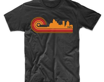 Retro Style Tampa Florida Skyline T-Shirt