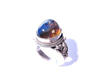 Vintage ring blue amber Elves 925 sterling silver size 54-64'