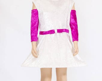 Ivory girl with hoop dress fuchsia around the chest bow