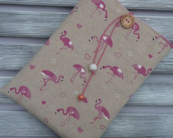 Pink Flamingo Book cover, Fabric Book sleeve, Best friend gift, Fabric Book cover , Book Lover, Paperback book cover, Flamingo bookmark