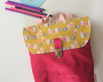 kindergarten backpack coated linen fuchsia pink and little mustard House