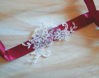 Handmade Ivory Lace Bridal Sash/Belt on Satin Ribbon