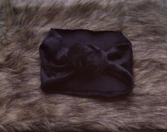 Black Velvet Top Knot Headband