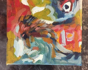 Abstract Expressionistic Acrylic Painting on Stretched Canvas 4x4 Inches
