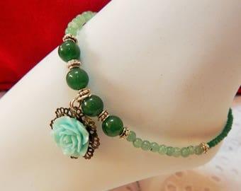 Handmade Beautiful Semi-Precious Aventurine and CZ Glass beads ~Anklet~Rose charm~ Green