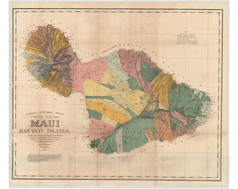 Island of Maui, Hawaii; Antique Map by Alexander 1885