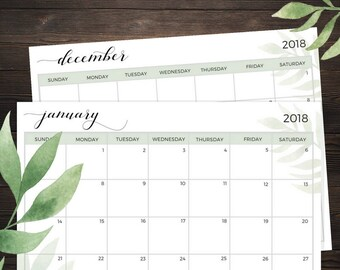 2018 Calendar Printable, Letter Size, Horizontal Layout, Greenery Design, Instant Download