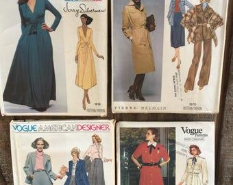 4 Vogue American Designer and Vogue Paris Patterns // Jerry Silverman, Bailman, Guy Laroche, Anne Klein // 1970's-1990's