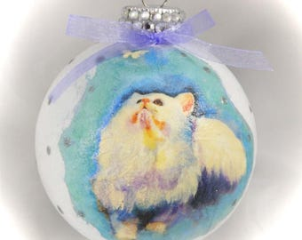 Decoupage Glass Ornament. Painted Ornament. Holiday Ornament. Cat Ornament.