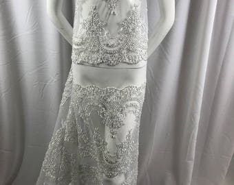 Lace Fabric Beaded Trim Sewing White -Silver Trimming Edge Embroidered Wedding Craft Bridal Veil By The Yard