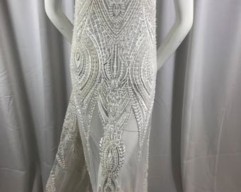 Embroidered Beaded Fabric - White Lace Heavy Beads By The Yard For Bridal Veil Flower Mesh Dress Top Wedding Decoration
