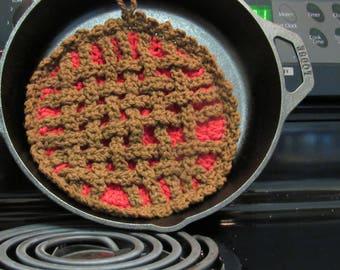 Hot plate - Cherry  or pumpkin pie colors - 100% Cotton