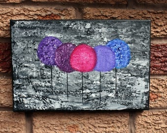 Abstract Trees Painting, 9x6 inches Canvas, Purple Wall Art Contemporary
