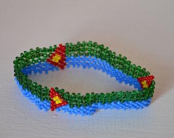 Eritrea Flag Bracelet | Maasai beaded bracelets |  Flag of Eritrea | Eritrean flag wrist band.