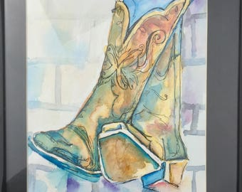 Watercolor & Ink Painting Cowboy Boots 9 x 11
