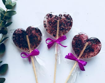 Gift for friend, lollipop with bow, set of 3 tasty purple blackcurrant lollipop, gourmet food, cute gift for girl, party favors, heart deco