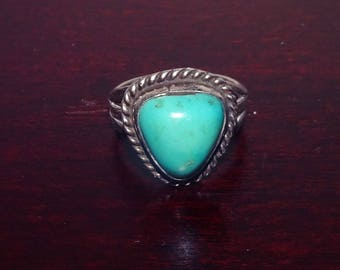 Vintage Navajo Sterling Turquoise Ring Size 7