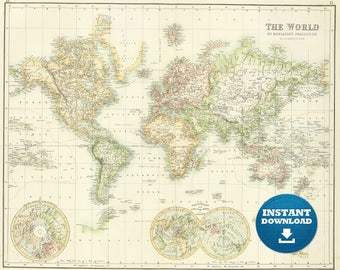 World map download etsy digital old world map printable download vintage world map printable map large world gumiabroncs Gallery
