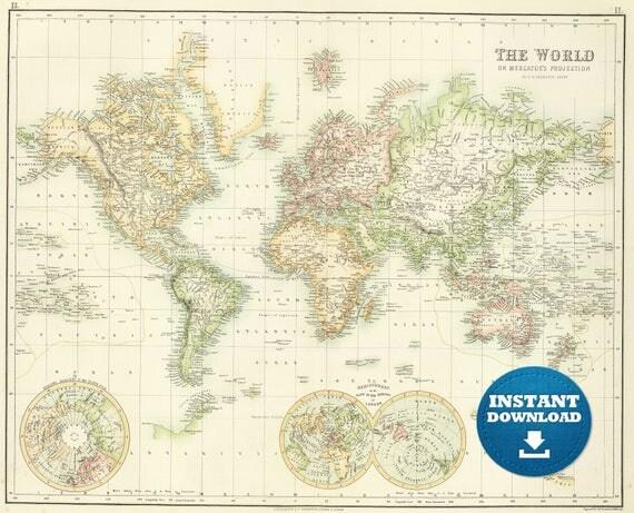 Digital old world map printable download vintage world map te gusta este artculo gumiabroncs Gallery