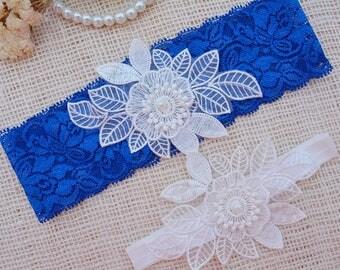 Something Blue Garter, Royal Blue Garter, Bridal Lace Garter, Bridal Garter Set, Blue Bridal Garter , White Wedding Set, Blue Garter Wedding