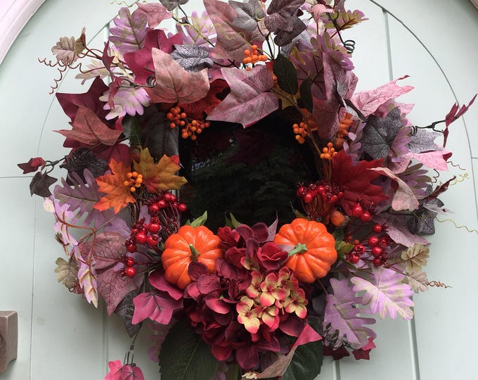Autumn Hydrangea, pumpkin amd berry wreath
