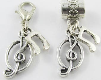 Treble Clef Music Note Charm Select European Charm or Clip on