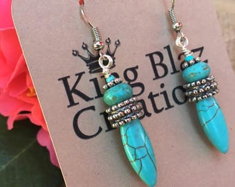 17E009 Turquoise Colored Magnesite Drop Boho Earrings with Silver-Plated Wire Fish Hook.