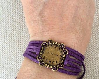 Love bracelet, hand stamped bracelet, wrap bracelet, arrow jewelry, gifts under 20, gifts for her, arrow bracelet, follow your heart, suede