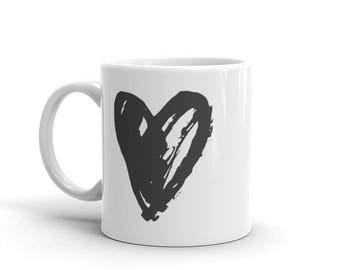 Heart Coffee Mug, Simplicity, Minimalist Mug, Gift For Her, Tea Lovers, Love