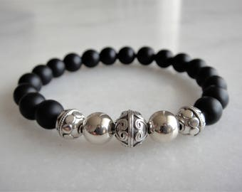 Silver bracelet with matt onyx beads - mens bracelet / womens bracelet