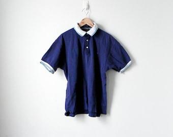 90s Polo Shirt - Alexander Julian Colors Polo Shirt - 90s Shirt - Vintage Polo Shirt - Navy Blue Polo Shirt - Striped Polo Shirt - Men's M