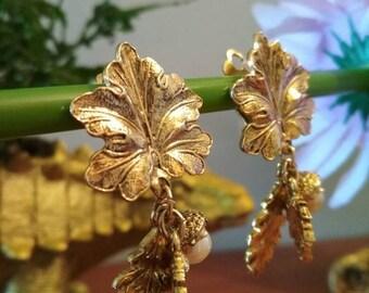 1950s clip on earrings golden leafs