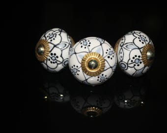 cabinet knobs dresser cabinet handles and pulls jaipur items handcrafted indian white base black lines dots - Price is for 1 knob (OHK0007)
