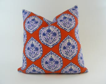 Square Accent Pillow Cover 18 x 18 Indian Print Flower Medallions Paisley