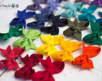 Pigtail Felt Bows - Hair Bows - Baby Bows - Toddler bows - Pigtail bows