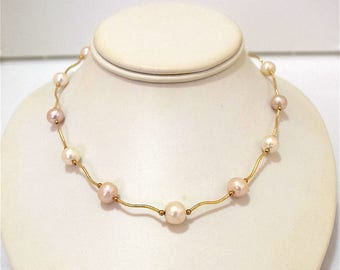 White Pearl Necklace, 14KT Yellow Gold White Freshwater Pearl Necklace, N3207