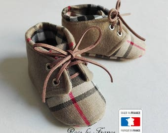 Smart beige tartan wool and cashmere baby shoes (baby shoes)